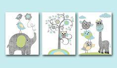 Blue Grey Green Yellow Owl Elephant Giraffe Decor Canvas Nursery Print Baby Boy Wall Decor Kids Room Decor Kids Art Kids Wall Art Set of 3 by artbynataera on Etsy