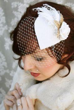 Vintage Bridal Veil Fascinator Headpiece Ivory. $68.00, via Etsy.