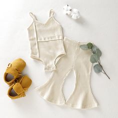 Baby / Toddler Fashionable Solid Strappy Romper and Bellbottom Pants Set naissance part naissance bebe faire part felicitation baby boy clothes girl tips Baby Outfits Newborn, Baby Boy Outfits, Kids Outfits, Toddler Outfits, Cute Baby Girl, Cute Babies, Baby Baby, Babies Stuff, Baby Girl Fashion