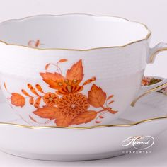 Herend porcelain Tea Cup with Saucer – Herend Apponyi Orange pattern. You will receive the followings:   1 pc – Tea Cup – vol 3.0 dl (10 OZ) 701-2-00 AOG – Orange 1 pc – Saucer – diam 15.5 cm (6″D) 701-1-00 AOG – Orange Total: 2 pieces Herend porcelain items Apponyi pattern also known as Chinese Bouquet. The Apponyi Lilac decor …