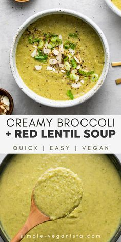 Creamy Broccoli + Red Lentil Soup (Vegan) - The Simple Veganista Creamy Broccoli + Red Lentil Soup. Creamy and delicious, this easy, vegan soup is great anytime of year. Ready in about 30 minutes, make this your next lunch, dinner or make ahead meal! Vegan Lentil Soup, Vegetarian Soup, Vegan Soups, Vegetarian Recipes, Vegetarian Barbecue, Broccoli Soup Recipe Vegan, Barbecue Recipes, Vegetarian Cooking, Vegan Recipes Using Lentils