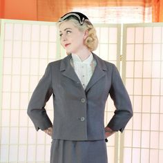 Chic 50's Vintage Gray Wool Suit . Boxy  . Bracelet Length Sleeves . Pencil…