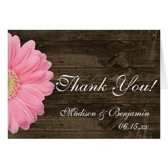 Pink Wedding Thank You Cards Pink Daisy Rustic Wedding Thank You Cards