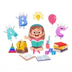 Kindergarten Vectors, Photos and PSD files Kids Cartoon Characters, Cartoon Pics, Cute Cartoon, Bullet Journal For Kids, Image Deco, Kids Reading Books, Unicorn Pictures, Christmas Drawing, Children's Book Illustration