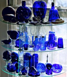 Cobalt Blue Glow, Early Morning by Reminds me of MuMsy. Antique Bottles, Vintage Perfume Bottles, Antique Glass, Azul Real, Cobalt Glass, Blue Bottle, Glass Collection, Colored Glass, Shades Of Blue