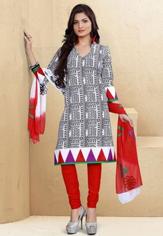 Look fashionably sauve wearing this Black-White-Red Color Cotton #Designer #SalwarKameez which is accompanied with a matching red bottom and printed dupatta. The suit features attractive tribal print along with a distinctive border.