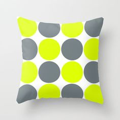 Outdoor Pillow Cover, Decorative Pillow Cover,Grey and Lime Green Circles, Neon Throw Pillow Cover, inch Outdoor Pillow Covers, Decorative Pillow Covers, Throw Pillow Covers, Throw Pillows, Patio Pillows, Cover Gray, Lime, Neon, Unique Jewelry