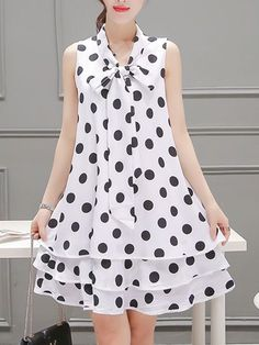 Summer Tie Collar Polka Dot Chiffon Mini Shift Dress – jollyluva a line dress a line dress outfit a line dress formal a line dress casual cute summer dresses Simple Dresses, Cute Dresses, Casual Dresses, Fashion Dresses, Girls Dresses, Fashion Clothes, Cheap Dresses, Casual Outfits, Summer Dresses