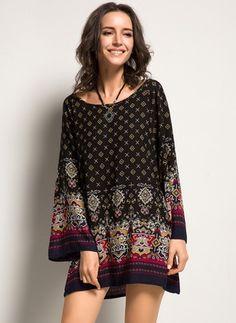 Bawełna Geometryczny Długi Rękaw Mini Nieformalny Suknia