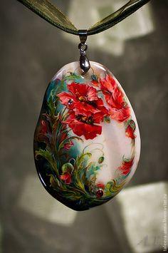 """Купить Кулон""""Маки"""" - ярко-красный, маки, цветы, подарок, кулон, камень, букет, натуральный камень"""