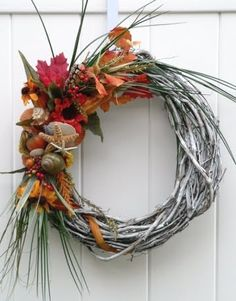 Fall grapevine wreath with hints of the coast