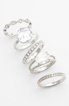 Ariella Collection Mixed Stackable Rings (Set of 5) available at #Nordstrom
