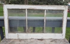 Vintage Painted Wood Window Three 3 Pane Frame Modern Farmhouse French Country Primitive Entryway Wall Hanging Home Decor Antique Paint AH9