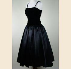 1950s Black Ruched Velvet and Satin Semi Formal Swing Dress - $155.00