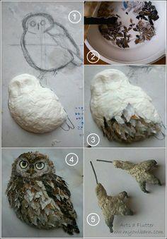 My Owl Barn: Arts A Futter: 3D Papier Mache Birds