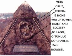 Veja Pirâmide com cruz, coroa e o nome Watchtower Tract and Society
