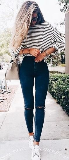 loving this look! whoever said stripes aren't flattering? super cute shirt & denim. enjoy moments & take it easy at anotherloveclothing.com