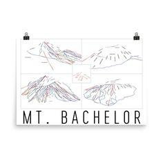 Mt. Bachelor Ski Map Art, Trail Map, Print, Poster From $39.99 - ModernMapArt
