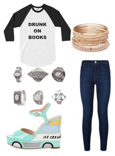 """""""Drunk on Books (and ice cream)"""" by bhappygirlz ❤ liked on Polyvore featuring Frame Denim, Kate Spade, Red Camel and Topshop"""
