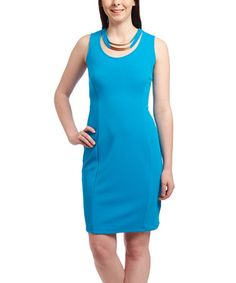 Another great find on #zulily! Turquoise & Gold Sheath Dress - Women & Plus #zulilyfinds