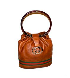 GUCCI Hobo Tan Leather Vintage Bucket Bag Web by StatedStyle