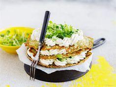 Suolainen lettukakku Savory Snacks, Salmon Burgers, Vegetarian Recipes, Sandwiches, Healthy Eating, Baking, Breakfast, Ethnic Recipes, Foods