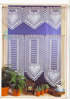 Craft with love . by Lu Guimarães: Curtains with graphics # Crochet G . Filet Crochet, Crochet Borders, Thread Crochet, Crochet Motif, Crochet Doilies, Crochet Patterns, Crochet Curtain Pattern, Crochet Unicorn Pattern, Crochet Curtains