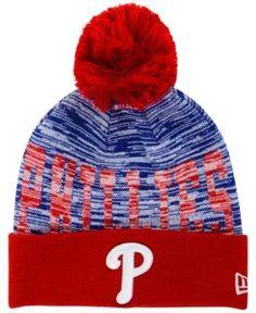 New Era Philadelphia Phillies Word Fuzz Knit Hat - Red Adjustable