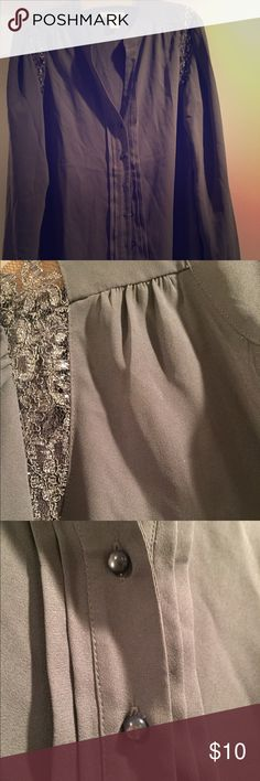 Dress shirt Beautiful gray blouse with metallic lace work on the shoulders LOFT Tops Blouses