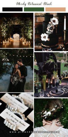 Black Wedding Themes, Wedding Colors, Gothic Wedding Ideas, Black Wedding Decor, Halloween Wedding Decorations, Modern Wedding Theme, Black Red Wedding, Halloween Wedding Invitations, Black Weddings