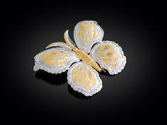 Designer Jewelry, Mario Buccellati, Diamond and Gold Butterfly Brooch ~