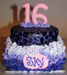 Ruffled Sweet 16 cheetah/leopard cake in purple and pink for a teen birthday Birthday Cakes For Teens, Teen Birthday, Birthday Parties, Leopard Cake, Cheetah, Fun Cupcakes, Cupcake Cakes, Sweet Sixteen Cakes, Gourmet Cakes