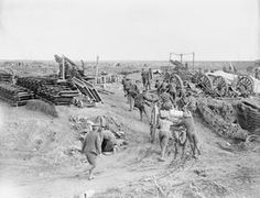 WWI, Oct 1916, Somme; Taking up shells by handcart to 9.2inch howitzer battery, south of Bernafay Wood, by troops of the Royal Garrison Artillery. © IWM