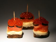 Puff canapes with salmon caviar. Canapes — a small snack sandwiches on unroasted bread (black and white), cookies, bagels, baked sandwich. Salmon Caviar, Baked Sandwiches, Appetizer Recipes, Appetizers, Caviar Recipes, Russian Recipes, Fish Dishes, Yummy Snacks, Food Photo