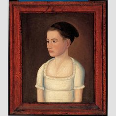 """YOUNG WOMAN OF THE FOLSOM FAMILY (possibly Anna Gilman Folsom)/ Henry Folsom (1792–1814), Exeter, New Hampshire, or Boston, Massachusetts, c. 1812–1814, oil on canvas, 21 1/2 × 17 5/8"""", collection American Folk Art Museum, gift of Ralph Esmerian, 2005.8.3. Photo credit: John Bigelow Taylor."""