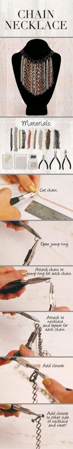 DIY Statement Chain Necklace I really like this or even better if chains was straight Homemade Jewelry, Diy Jewelry Making, Diy Jewelry Projects, Jewelry Crafts, Metal Jewelry, Custom Jewelry, Jewlery, Diy Jewelry Inspiration, Diy Necklace