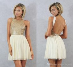 New Gold Sequins Short Modest Cocktail Dresses 2016 Jewel Backless Tulle Sexy Party Prom Cocktail Special Occasion Gowns Cheap Custom Maternity Cocktail Dresses Uk Misses Cocktail Dresses From Cinderella_shop, $54.6