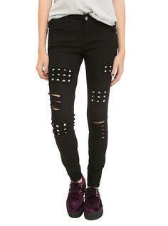 Royal Bones By Tripp Black Studded Skinny Jeans,