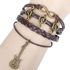 Music Notes Guitar Infinity Bracelet by ByGoodss on Etsy, $9.90
