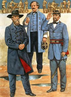 Confederate generals of the West - John Bell Hood, Benjamin Cheatham and Patrick Cleburne.