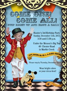 BIG TOP CIRCUS BIRTHDAY PARTY! Ringmaster Invites