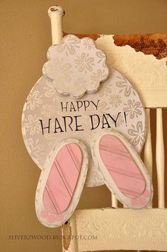 Cute Easter Decor definitely would change the pattern of paper and saying but cute!
