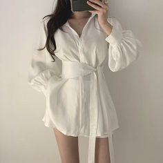 Fall Women Loose Solid Belt Casual Two Piece Set Sashes Turn-Down Collar Pockets Lace Up Shirt And Short Set Womne''s Set Korean Girl Fashion, Ulzzang Fashion, Korean Street Fashion, Kpop Fashion Outfits, Korean Outfits, Cute Fashion, Stylish Outfits, Fashion Dresses, Moda Outfits