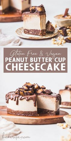 This Gluten-Free Vegan Peanut Butter Cup Cheesecake tastes like your favorite candy turned into a delightfully creamy vegan cheesecake. With a chocolate crust, creamy peanut butter filling, and chocolate ganache topping, you won't be able to have just one Vegan Dessert Recipes, Vegan Sweets, Delicious Desserts, Healthy Recipes, Healthy Cheesecake Recipes, Healthy Food, Gluten Free Cheesecake Crust, Paleo Cake Recipes, Diet Recipes
