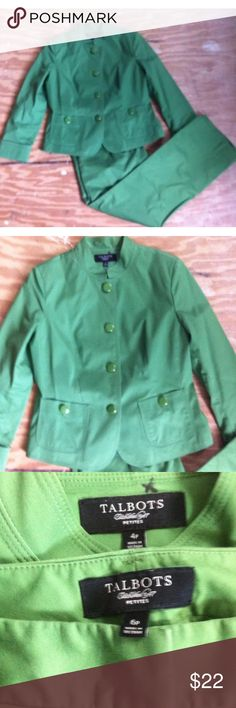 TALBOTS WOMAN PETITES Parrot Green Suit 4P pant 6P TALBOTS WOMAN PETITES Parrot Green Cotton Blazer Suit Jacket 4P pant 6P  the first picture is the truest to  color.   EUC non smoking home. Talbots Jackets & Coats Blazers