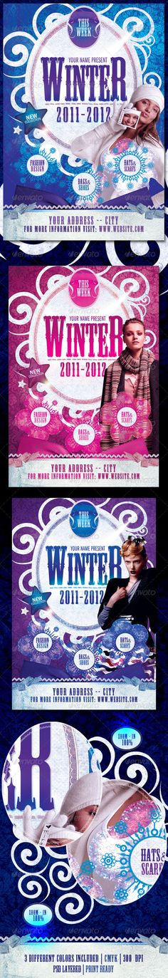 Winter Collection Flyer Template / $6. *** This flyer is perfect for the promotion of fashion shows/festivals, shops/boutiques, new collections or whatever you want!. ***