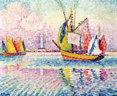 The Athenaeum - Boats at Anchor in Locmalo (Paul Signac - )