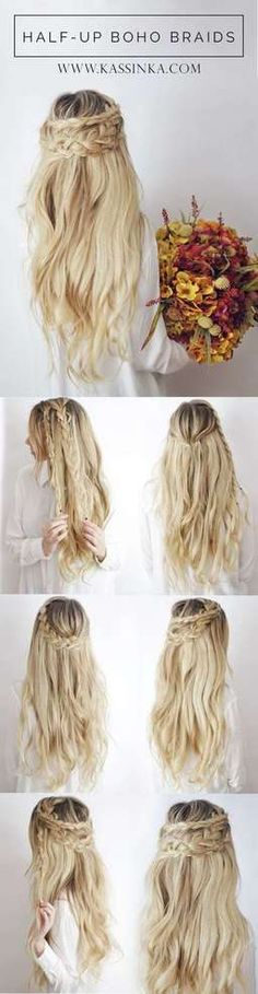 Braids hairstyles boho half up 50 ideas for 2019 festival boho braids festival hairstyles ideas festival braids boho braids hairstyles boho half up 50 ideas for 2019 festival festival braids how to 12 lange frisuren fr alle Pretty Braided Hairstyles, Wedding Hairstyles For Long Hair, Down Hairstyles, Trendy Hairstyles, Festival Hairstyles, Bridal Hairstyles, Hairstyles 2018, Long Hair Waves, Long Hair Styles