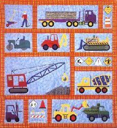 Under Construction Trucks Childrens Quilt Pattern New--found on ebay! Love this pattern!