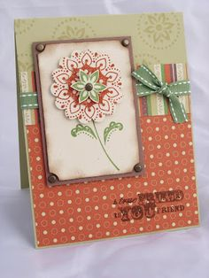 Stamps: True Friend (Holiday Mini pg. 18)  Paper: Apple Cider DP (Holiday Mini pg. 19), River Rock, Close To Cocoa & Naturals Ivory CS  Ink: Wild Wasabi, Really Rust, and Close To Cocoa  Embellishments: Wild Wasabi Double Stitched Grosgrain Ribbon, Antique Brass Brads  Tools: Scallop Circle Punch, Ticket Corner Punch